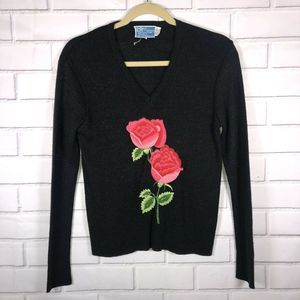 VINTAGE LE ROY EMBROIDERED Roses Metallic BLACK S
